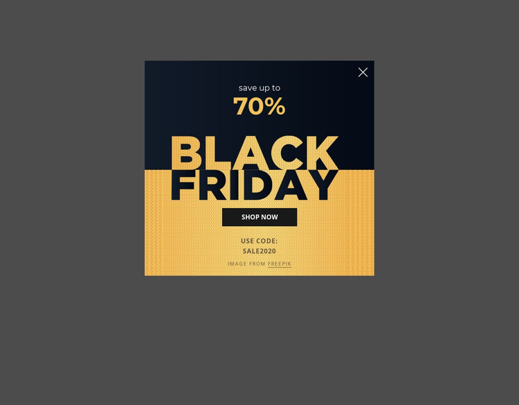 Black friday popup with image background Html Website Builder