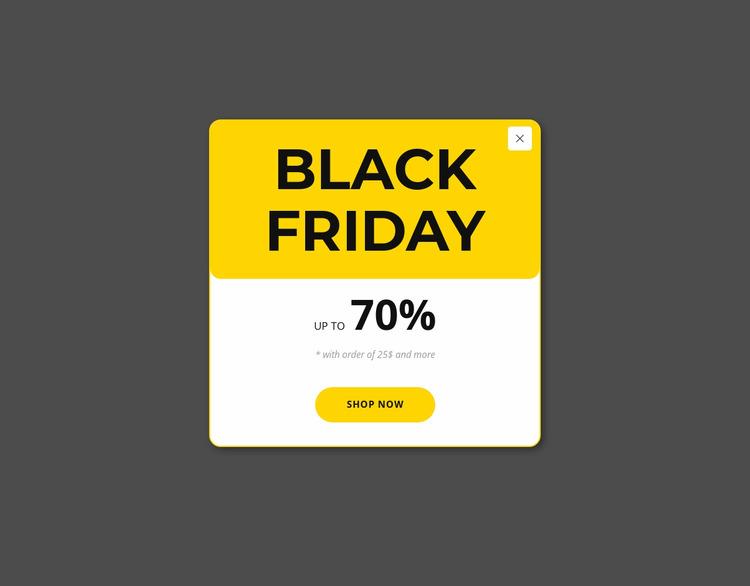 Black friday yellow popup Html Website Builder