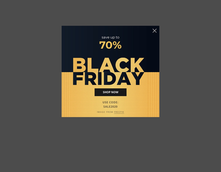 Black friday popup with image background HTML5 Template
