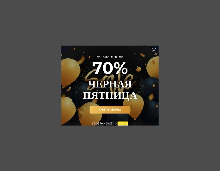 Всплывающее окно черной пятницы Шаблон веб-сайта