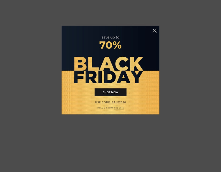 Black friday popup with image background Web Page Design