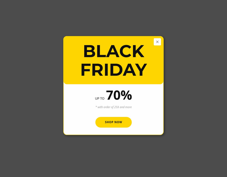 Black friday yellow popup Web Page Design
