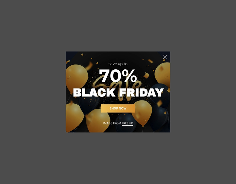Black friday popup Website Design