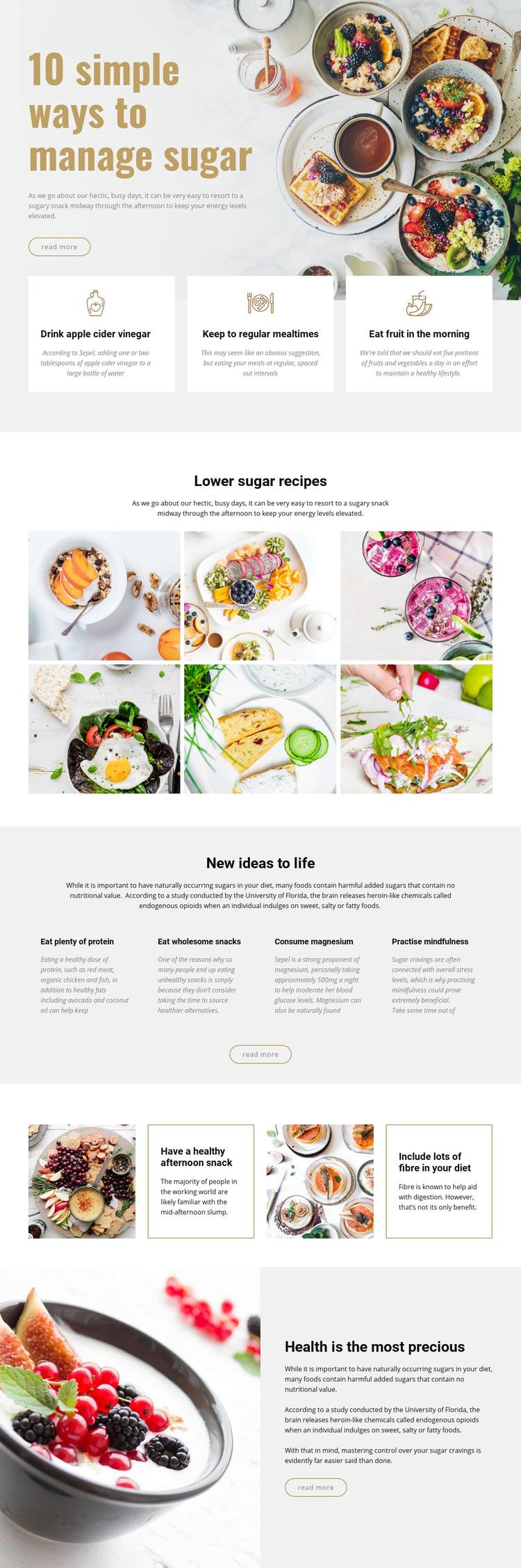 Manage sugar in food Homepage Design