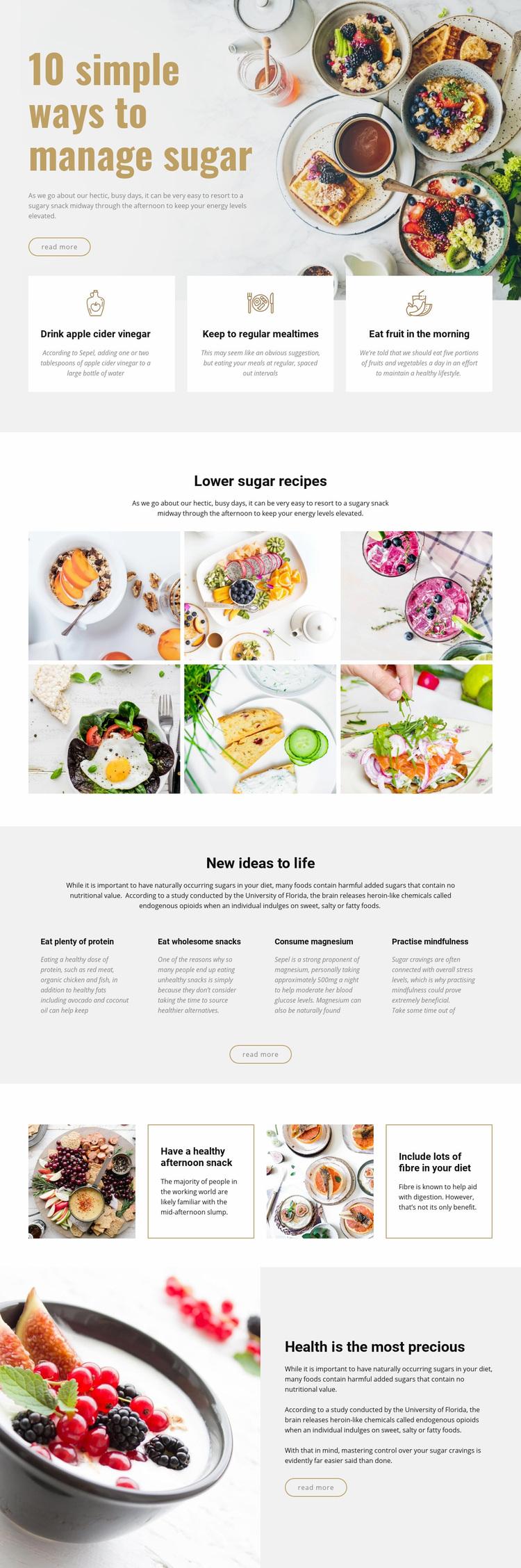 Manage sugar in food Web Page Designer