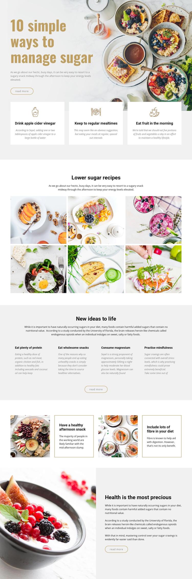 Manage sugar in food WordPress Website