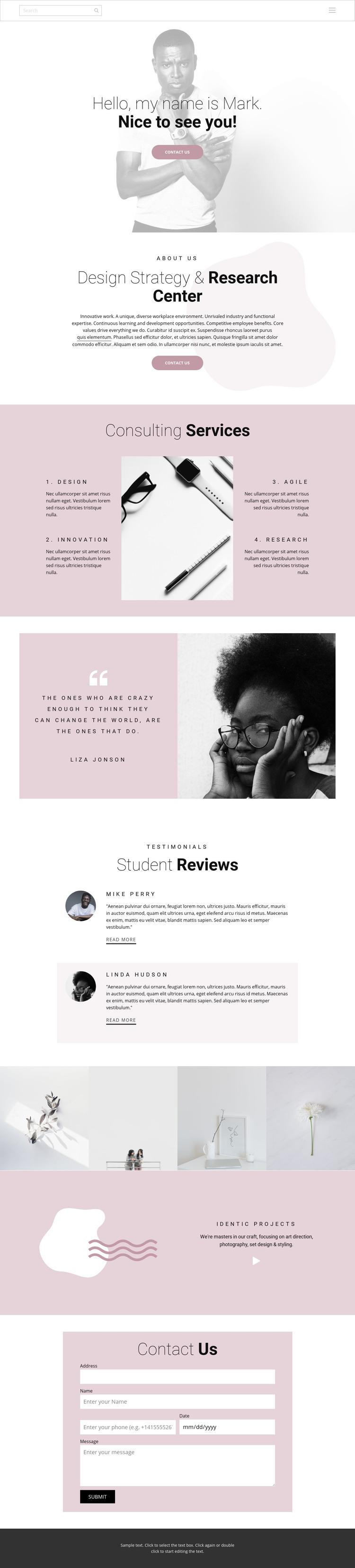Design strategy Homepage Design