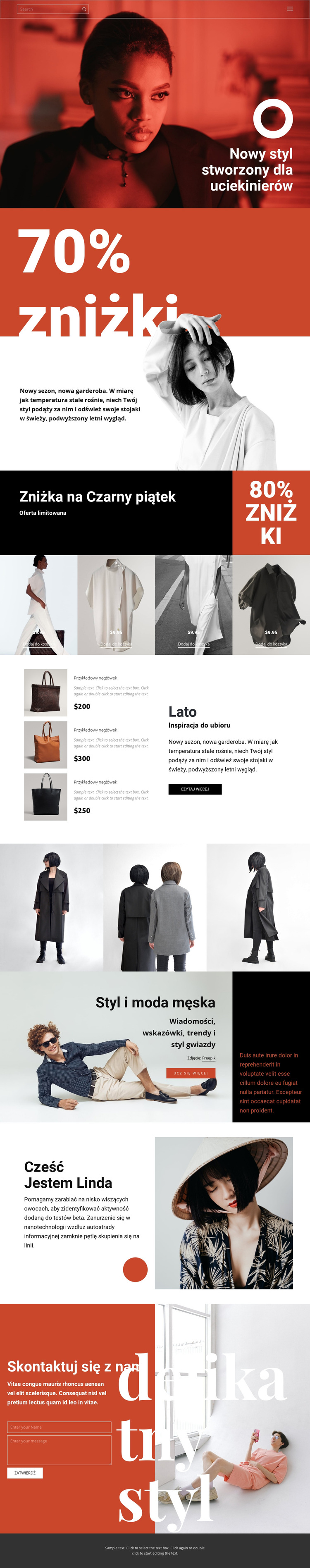 Super wyprzedaż mody Szablon witryny sieci Web