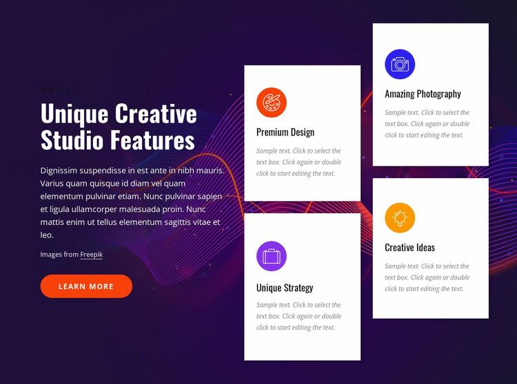 Creative studio features Html Website Builder