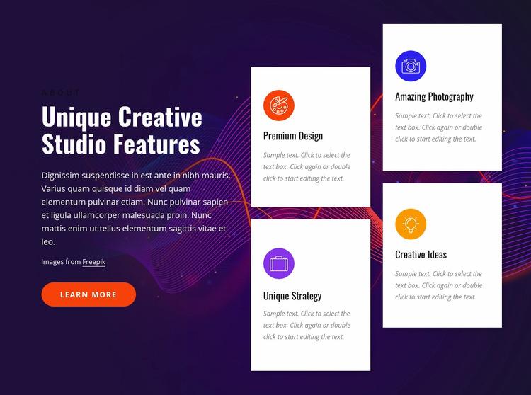 Creative studio features Web Page Design