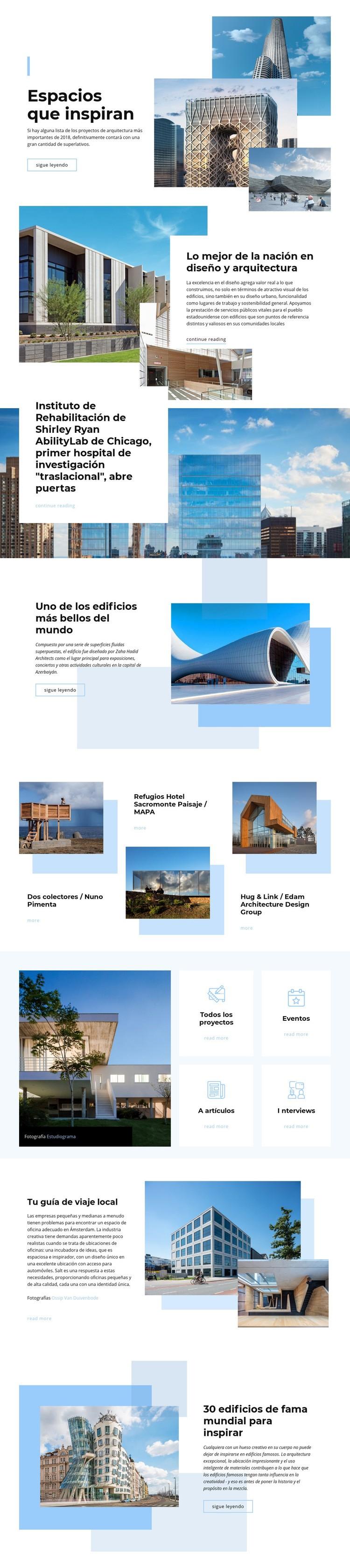 Espacios que inspiran Plantilla de sitio web