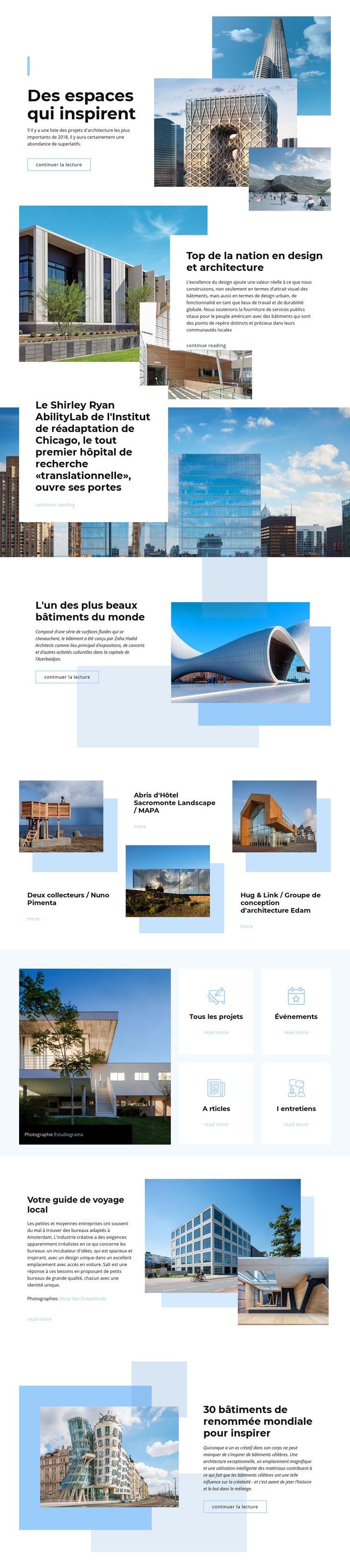 Des espaces qui inspirent Modèle de site Web