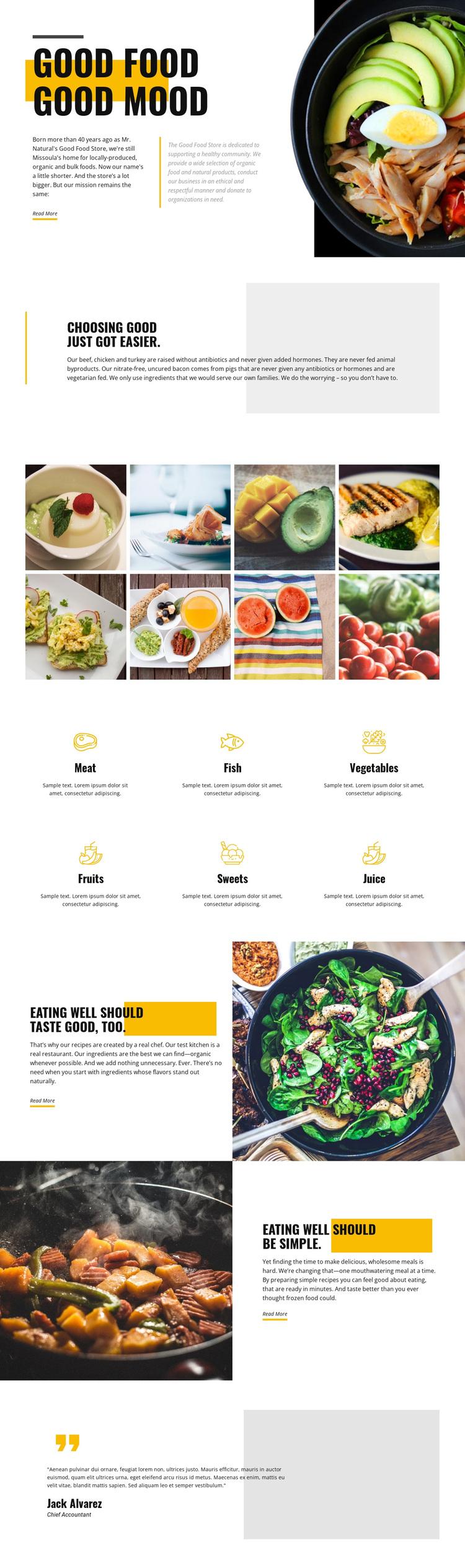 Good mood good food Joomla Page Builder