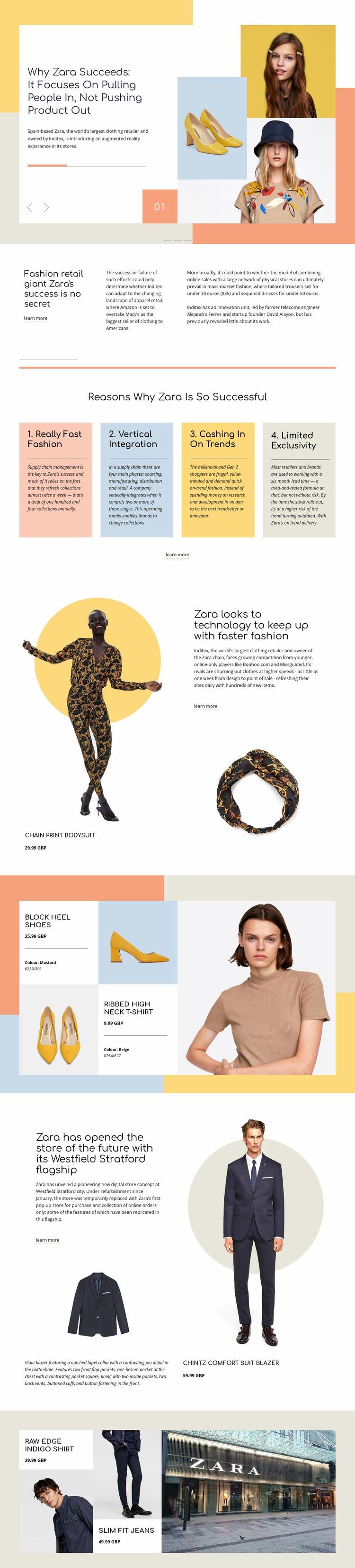 Zara Success Web Page Design