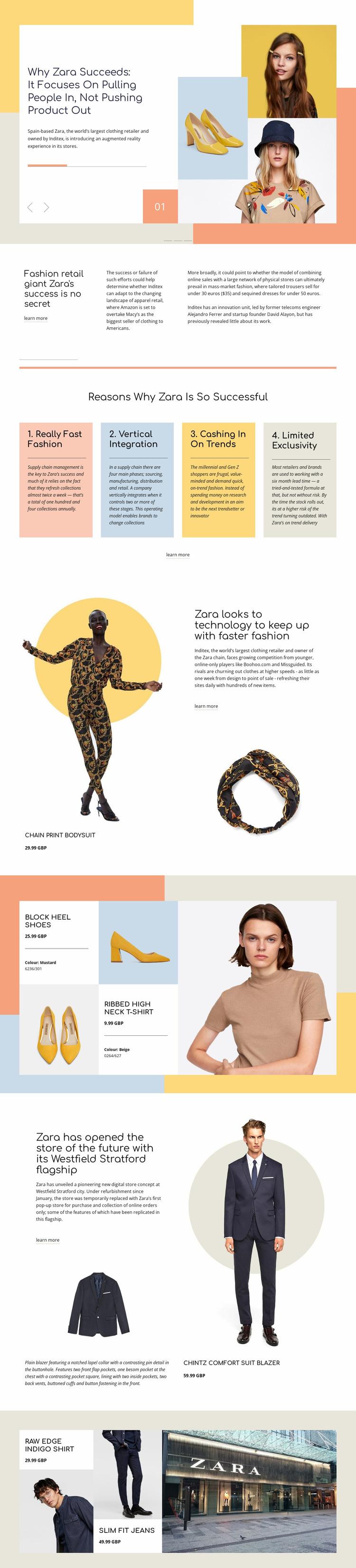 Zara Success Website Mockup