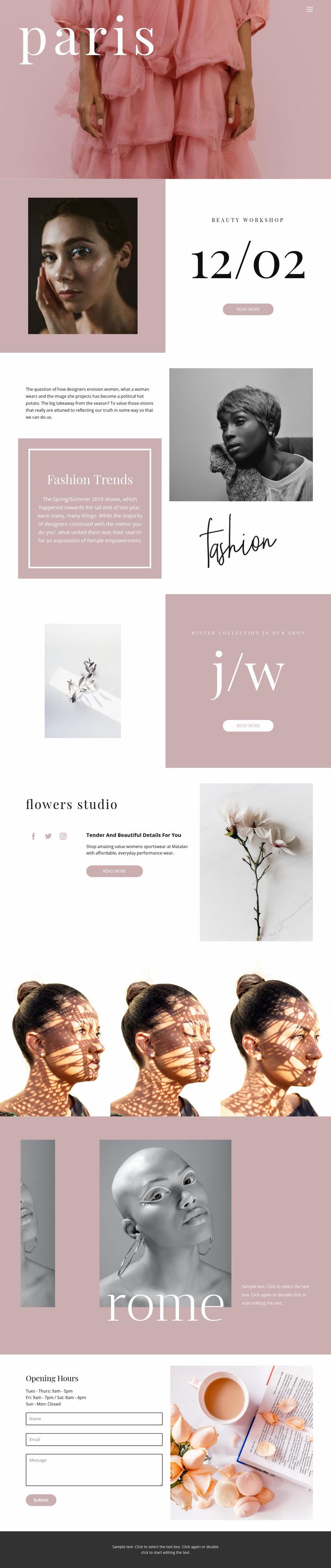 French fashion Web Page Design