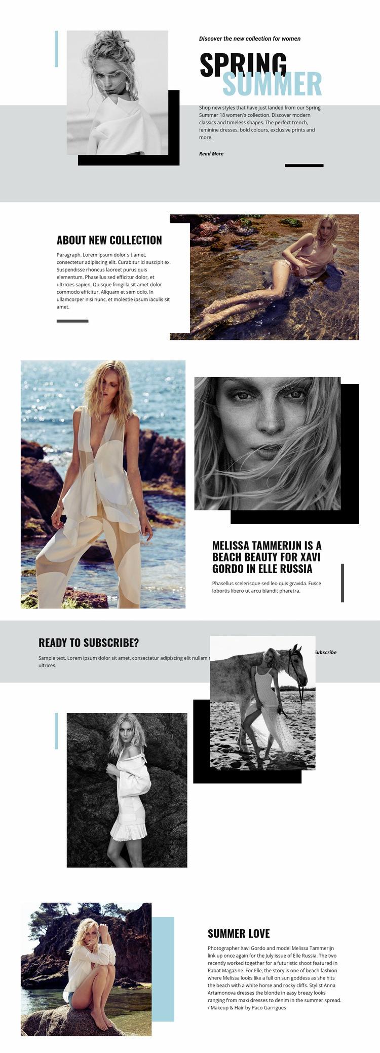 Beach Fashion Web Page Design