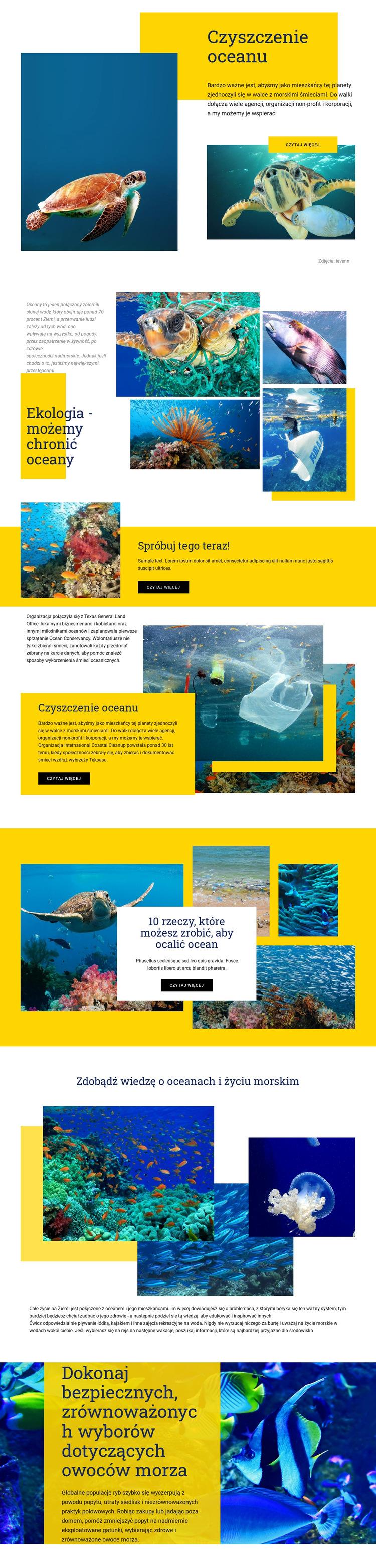 Chroń oceany Szablon witryny sieci Web
