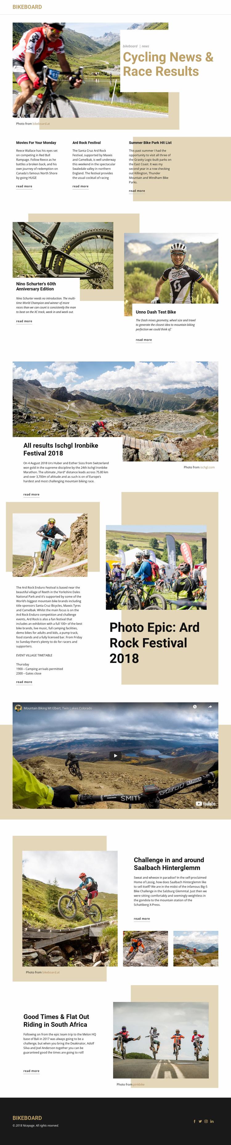 Cycling News Website Design