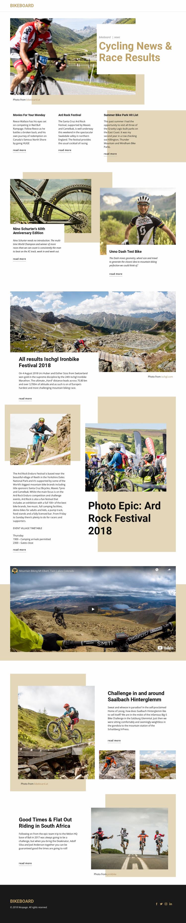 Cycling News Website Mockup