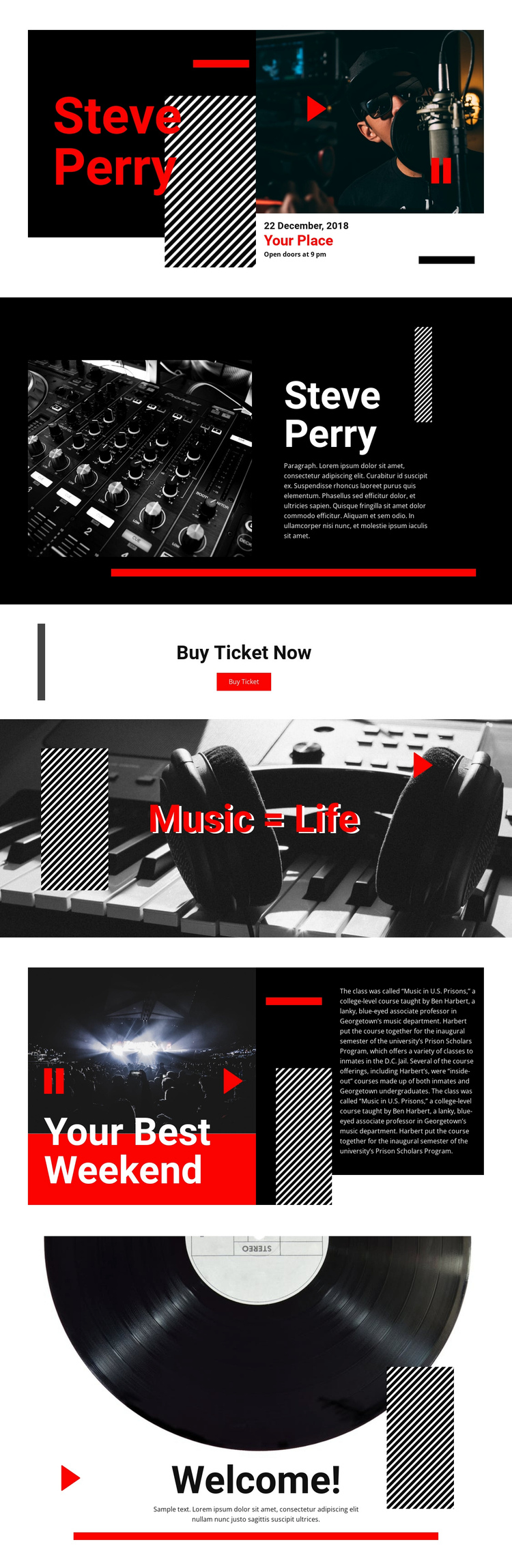 Best quality music One Page Template
