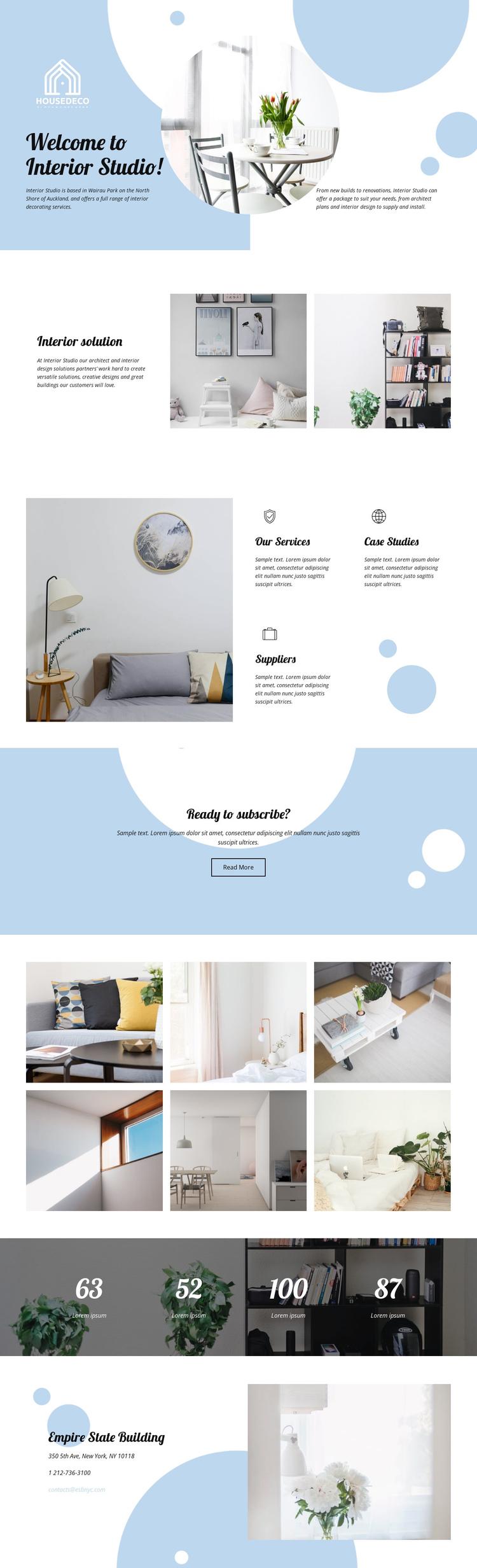 Interior Studio One Page Template