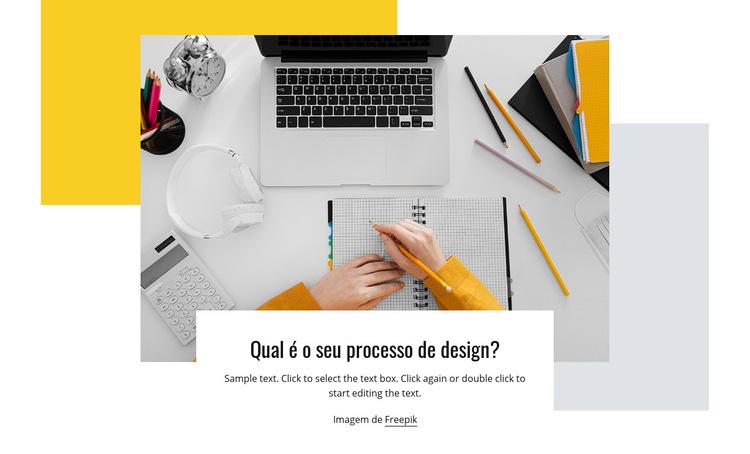 Processo de design Modelo de site