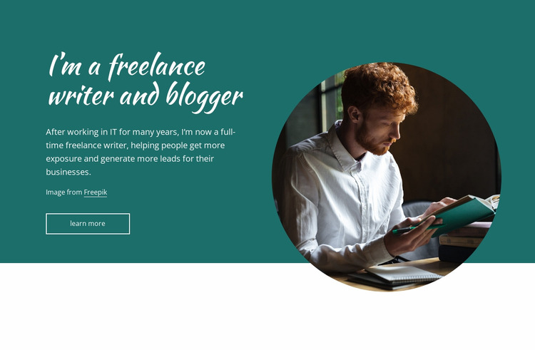I'am a freelance writer Html Website Builder