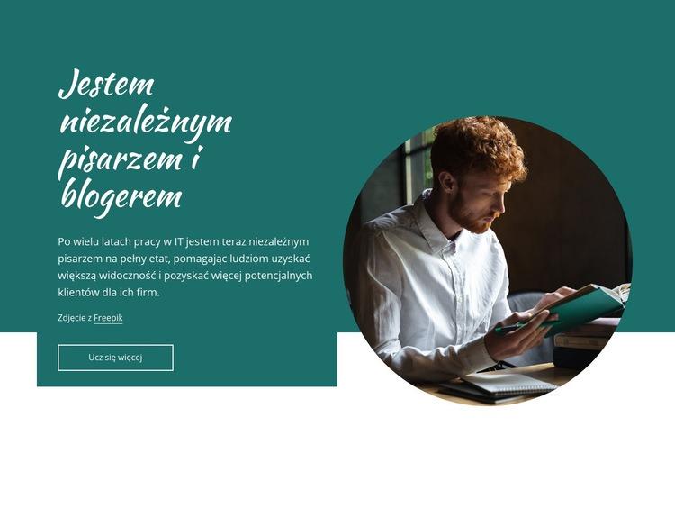 Jestem niezależnym pisarzem Szablon witryny sieci Web