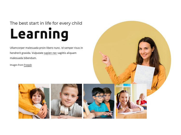 Fun learning for kids One Page Template
