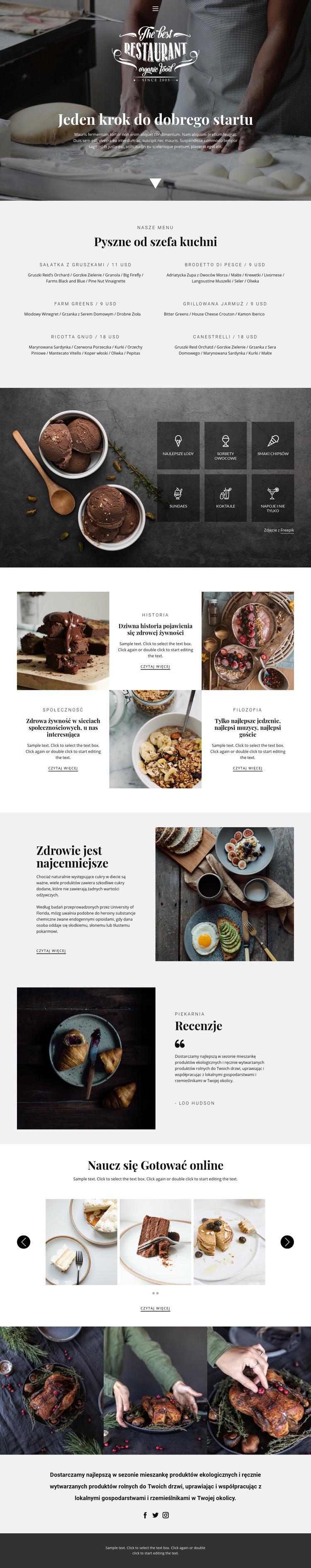 Przepisy i lekcje gotowania Szablon witryny sieci Web