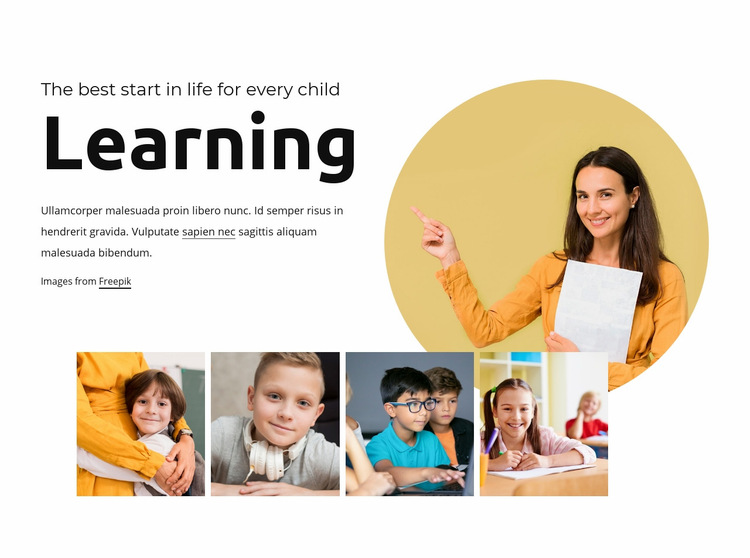 Fun learning for kids Web Page Design