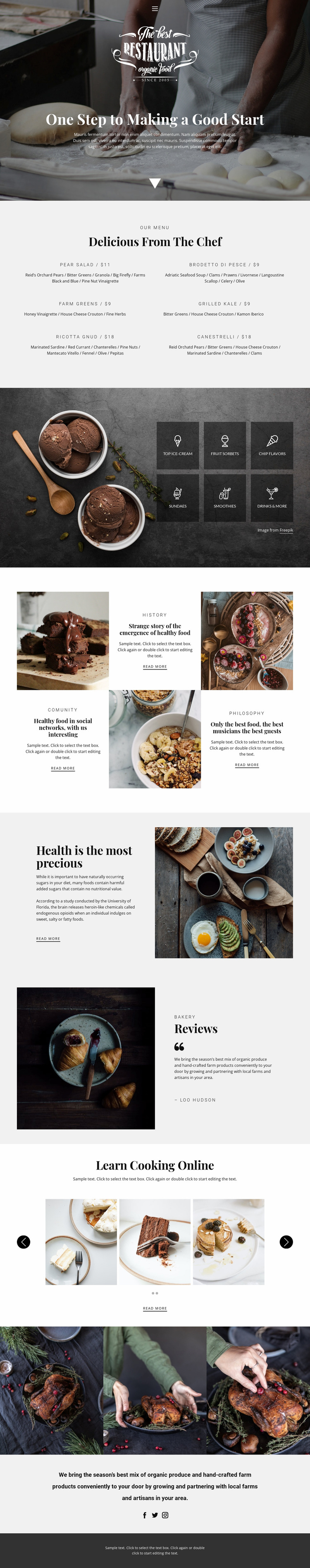 Recipes and cook lessons Website Builder Templates