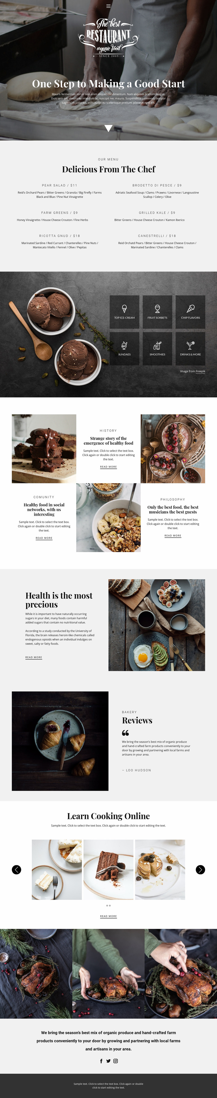 Recipes and cook lessons Website Mockup