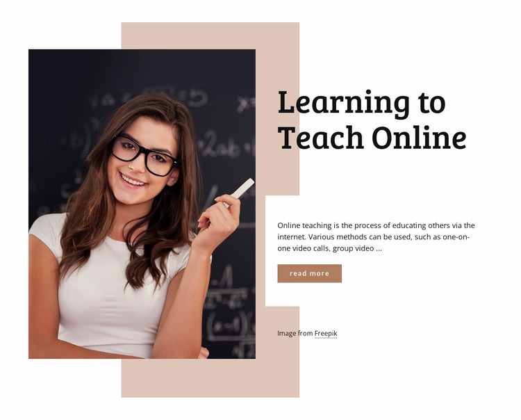 Learning to teach online Website Mockup