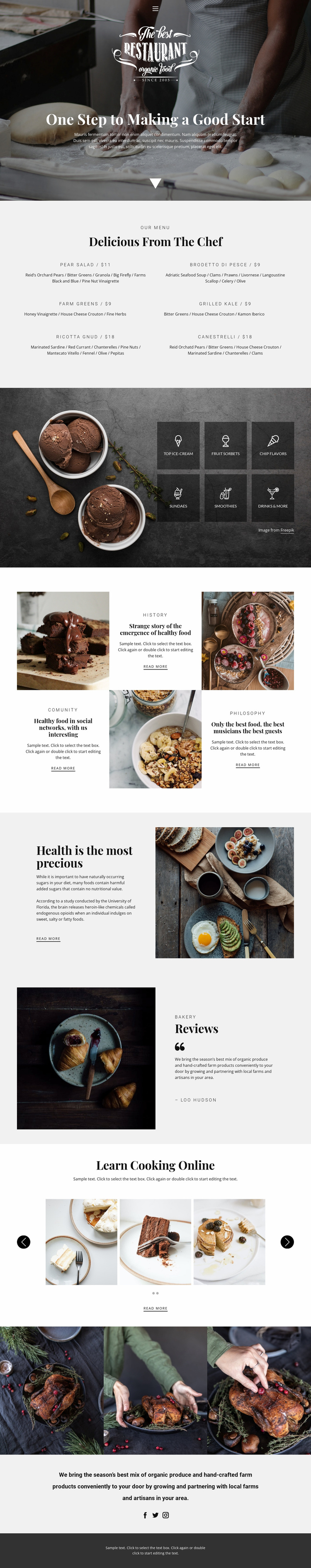 Recipes and cook lessons Landing Page