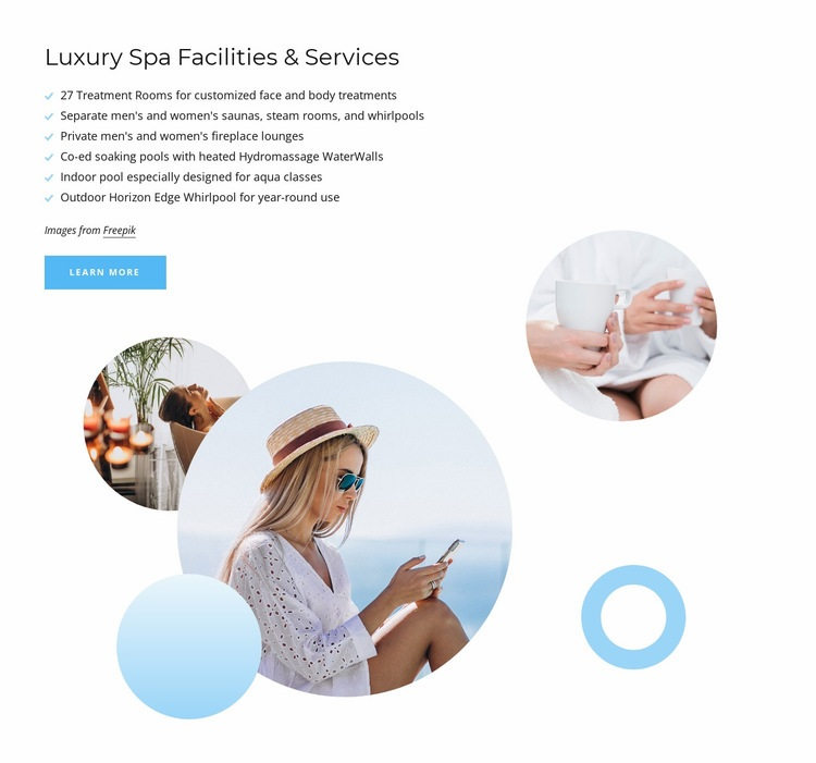 Luxury spa services Html Code Example