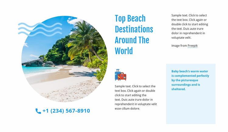 Top beach destinations Landing Page