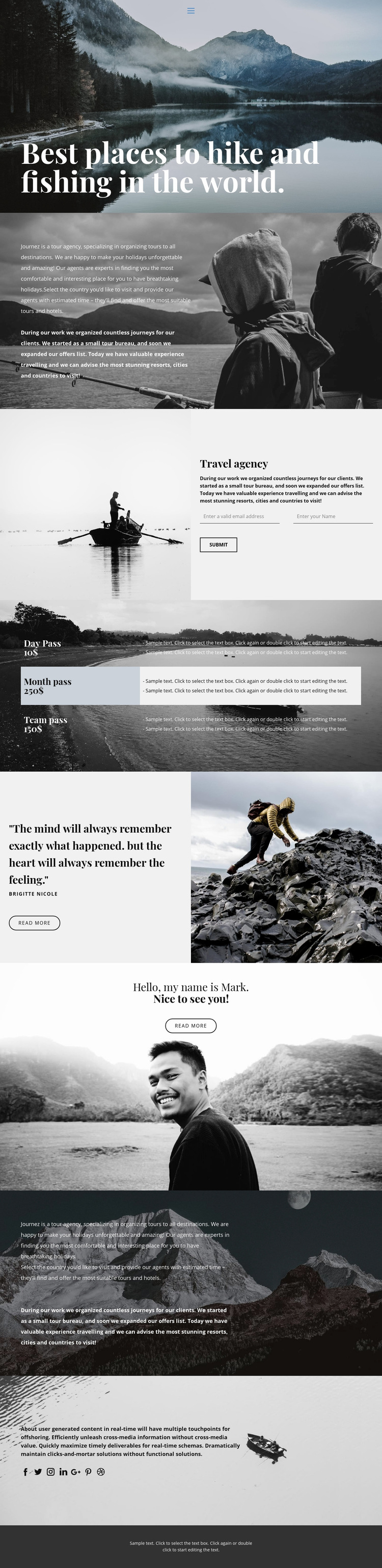 Best places for hiking and fishing Web Page Design