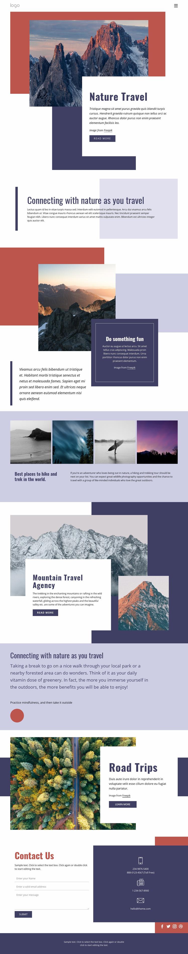 Nature travel Web Page Design