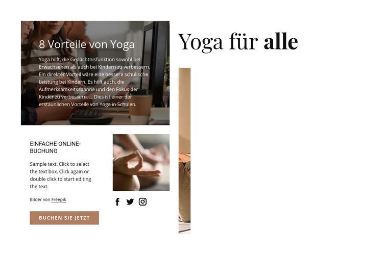 Yoga für alle Website-Vorlage