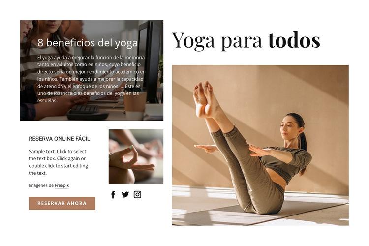 Yoga para todos Plantilla de sitio web