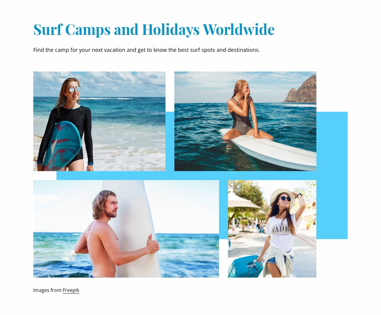 Surf camps Html Website Builder