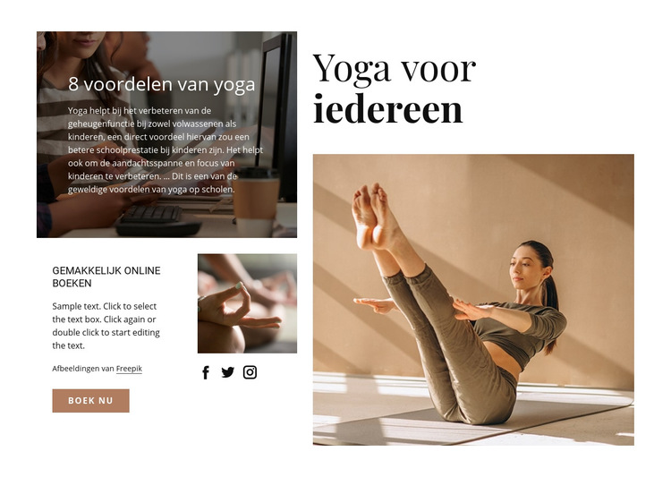 Yoga voor iedereen Website sjabloon
