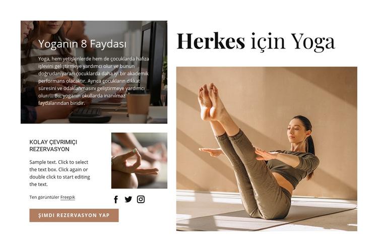 Herkes için Yoga Web Sitesi Şablonu