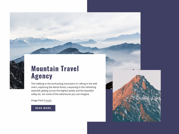 Mountain travelling Web Page Design