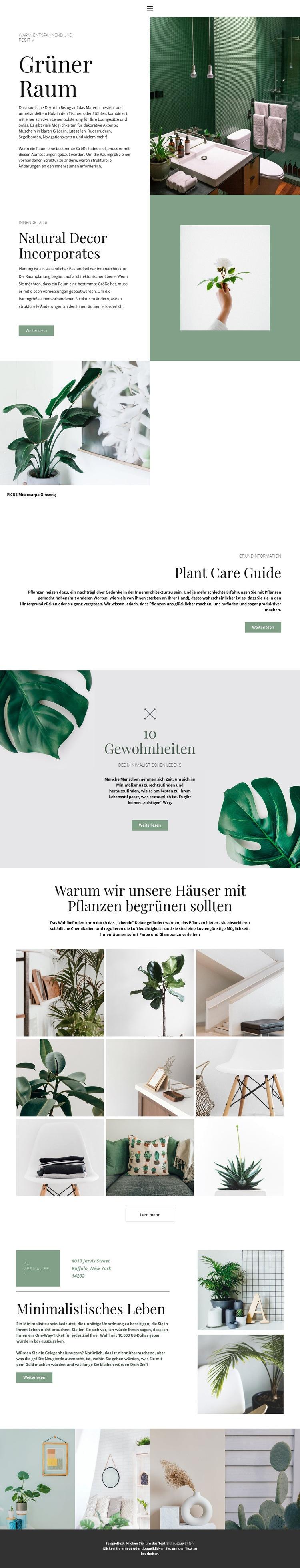Grüne Details zu Hause Website-Vorlage
