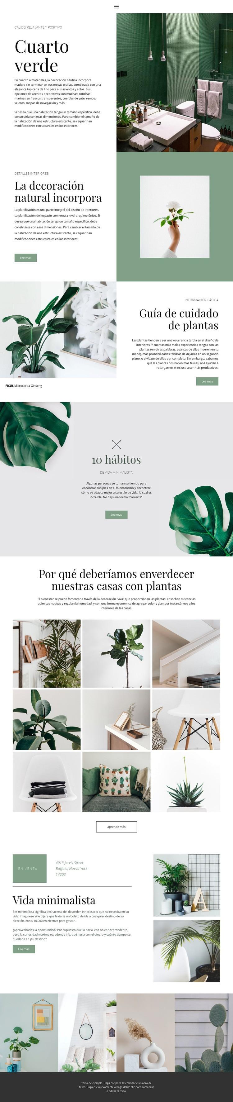 Detalles verdes en casa Plantilla de sitio web