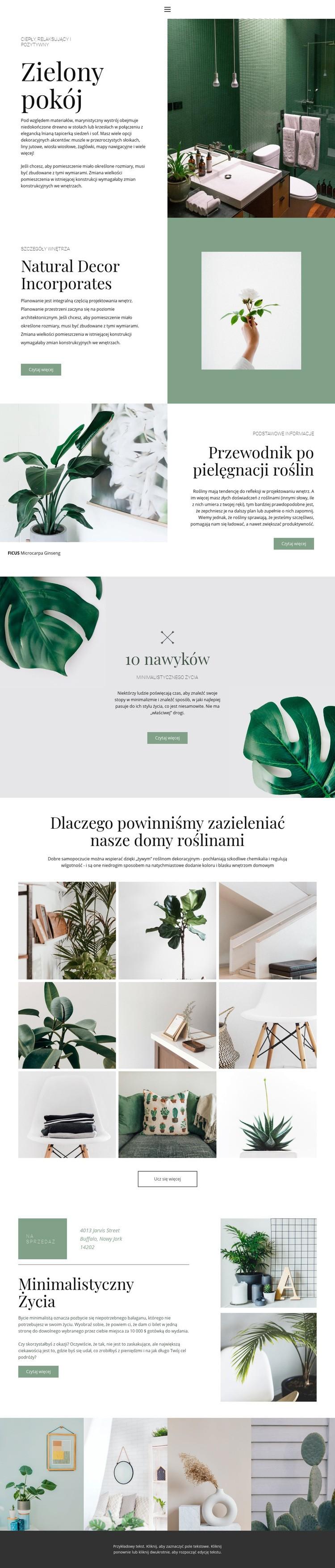 Zielone detale w domu Szablon witryny sieci Web