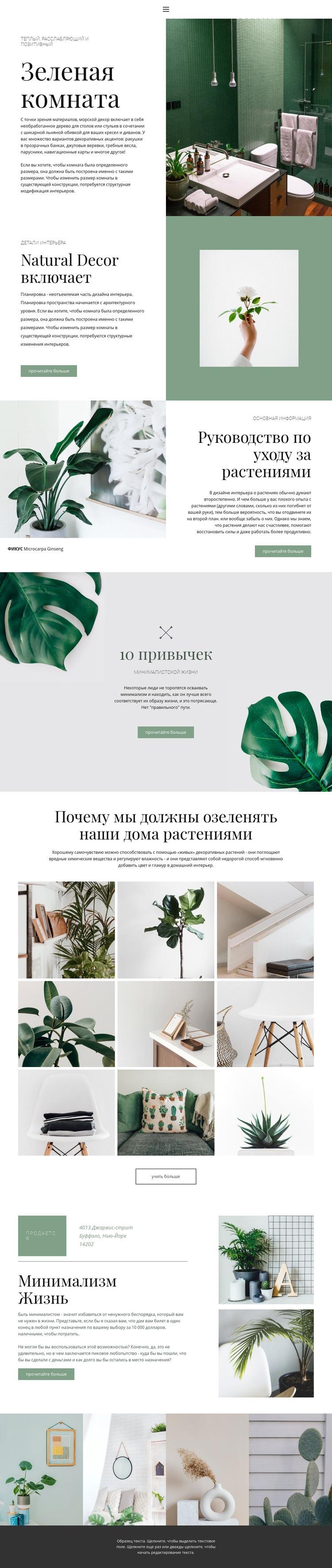 Зеленые детали в доме Шаблон веб-сайта